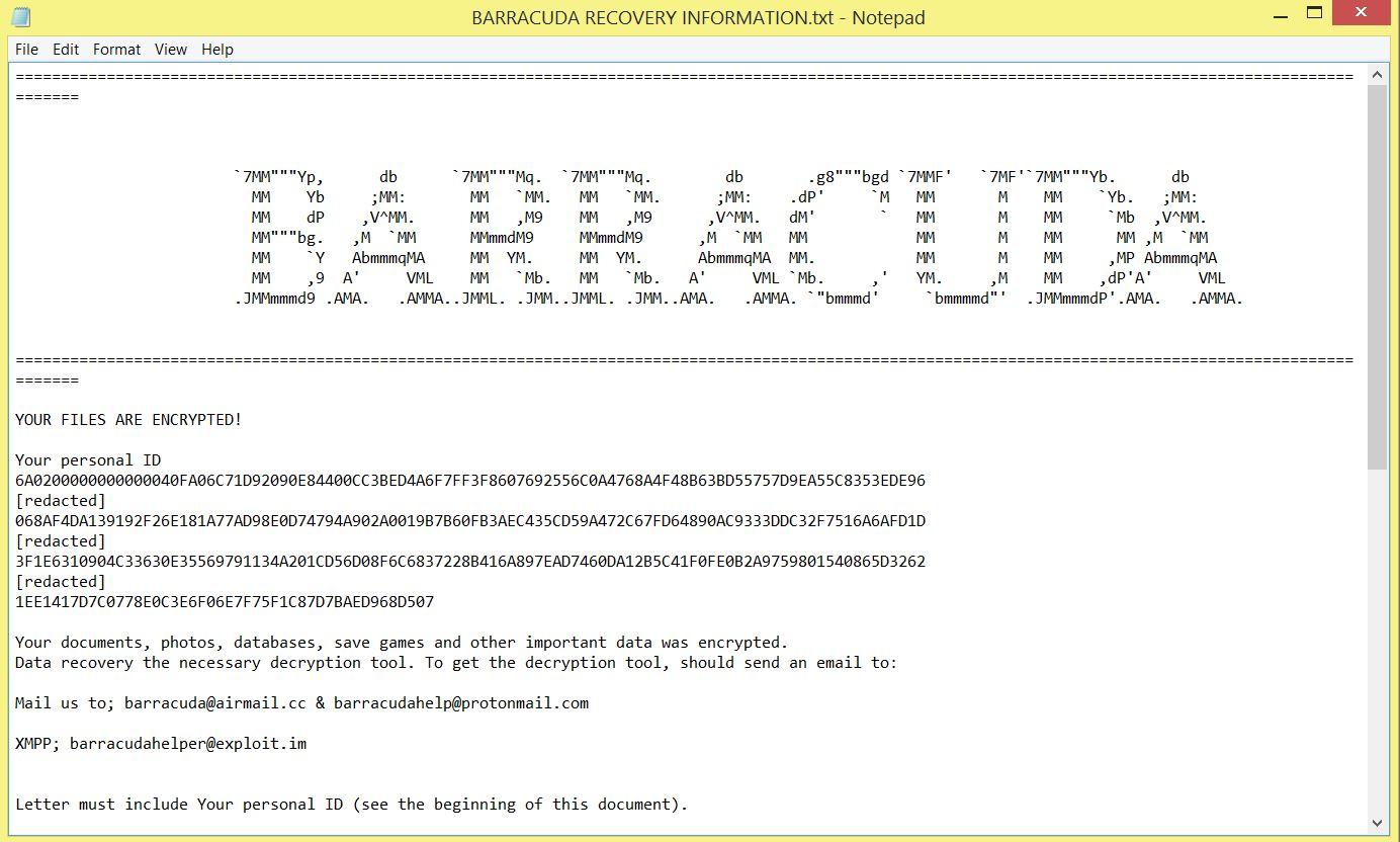 BARRACUDA RÉCUPÉRATION Information.txt Scarab BARRACUDA de rançon de ransomware