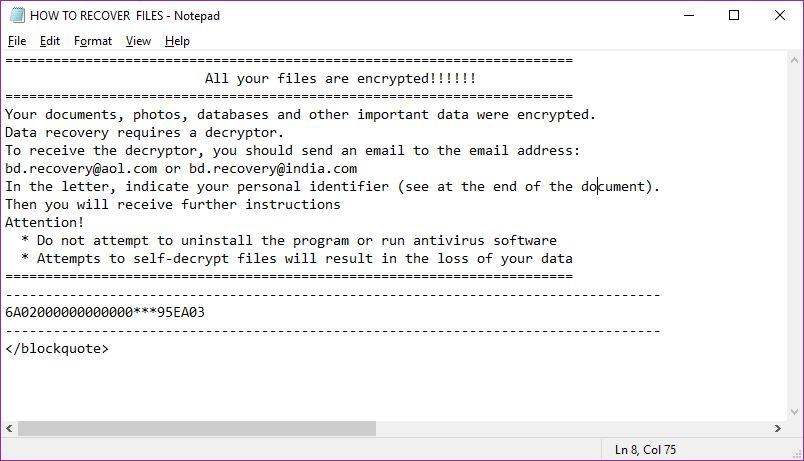 imagen Virus ransomware nota extensión Escarabajo-Recuperación .Recovery