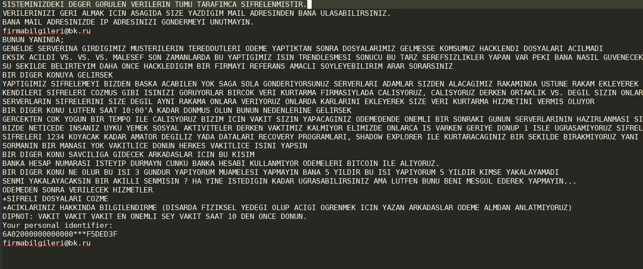 Scarab-Turkish Virus image ransomware note  .[email] extension