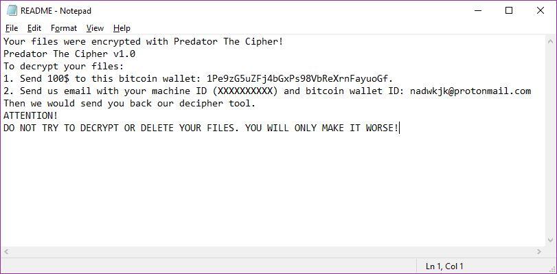 immagine Virus Predator estensione .predator nota ransomware
