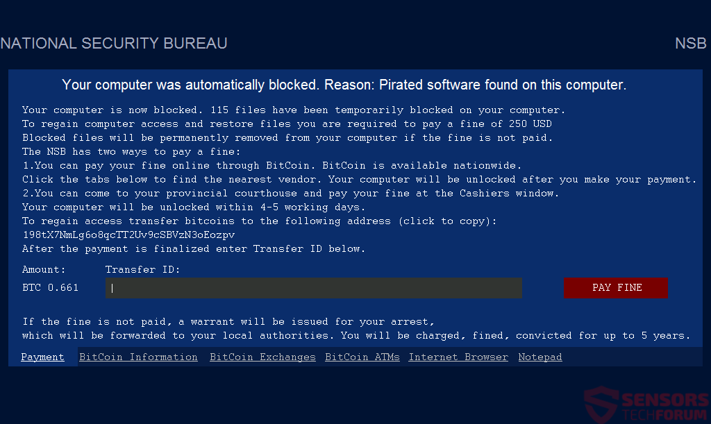 NATIONAL SECURITY BUREAU Virus Removal - Restore  exe Files
