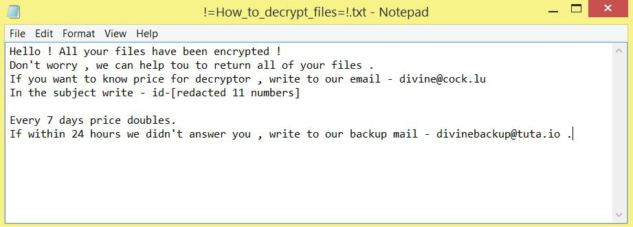 Everbe 2.0 ransom note !=How_to_decrypt_files=!.txt file