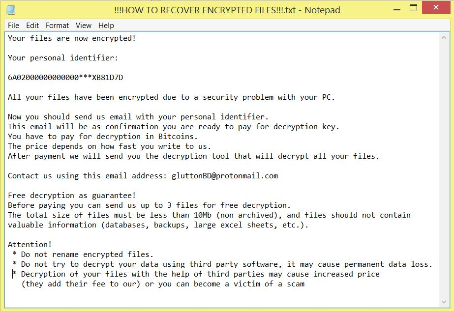!!!HOW TO RECOVER ENCRYPTED FILES!!!.TXT .glutton files virus ransom note