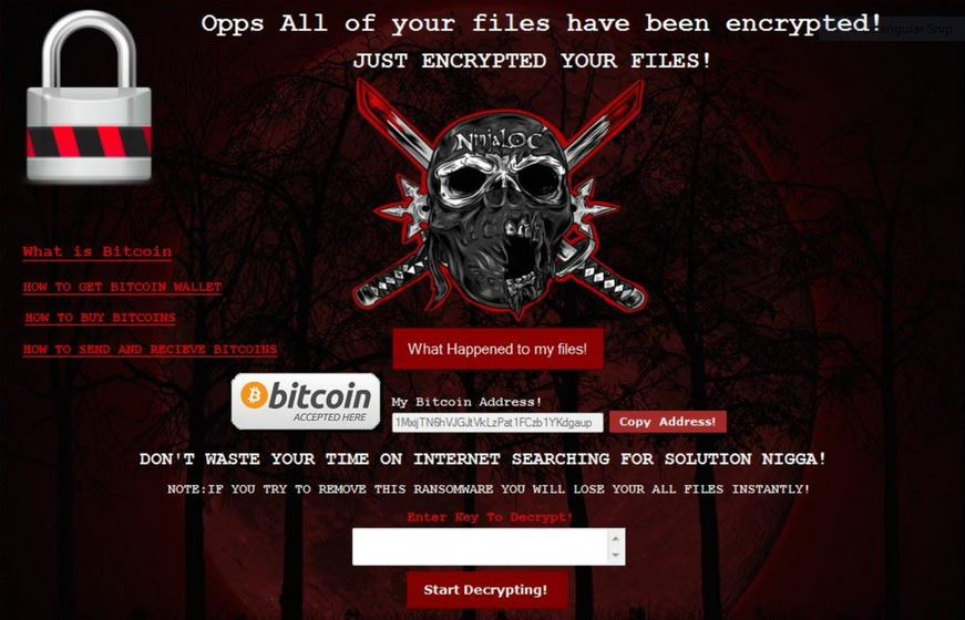 NinjaLoc Virus image ransomware note Encrypted extension