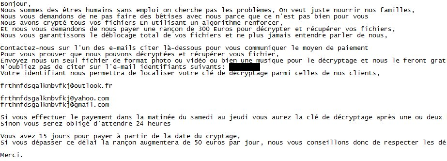 jobcrypter ransom message in French