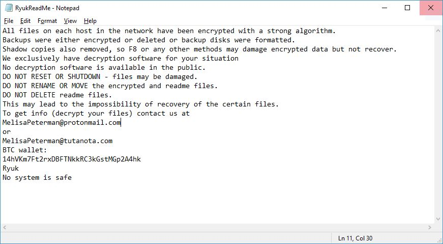 Ryuk Virus image ransomware note Encrypted extension
