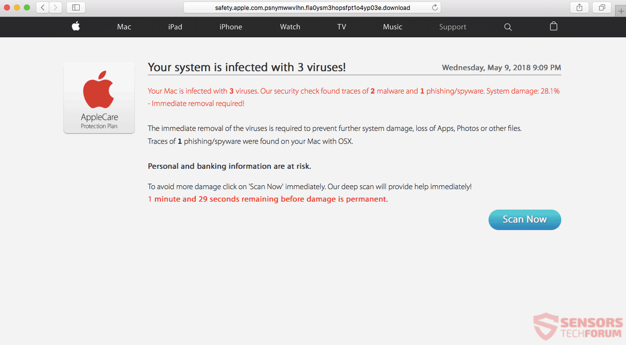 Remove ?AppleCare: Your system is infected with 3 viruses!? Scam