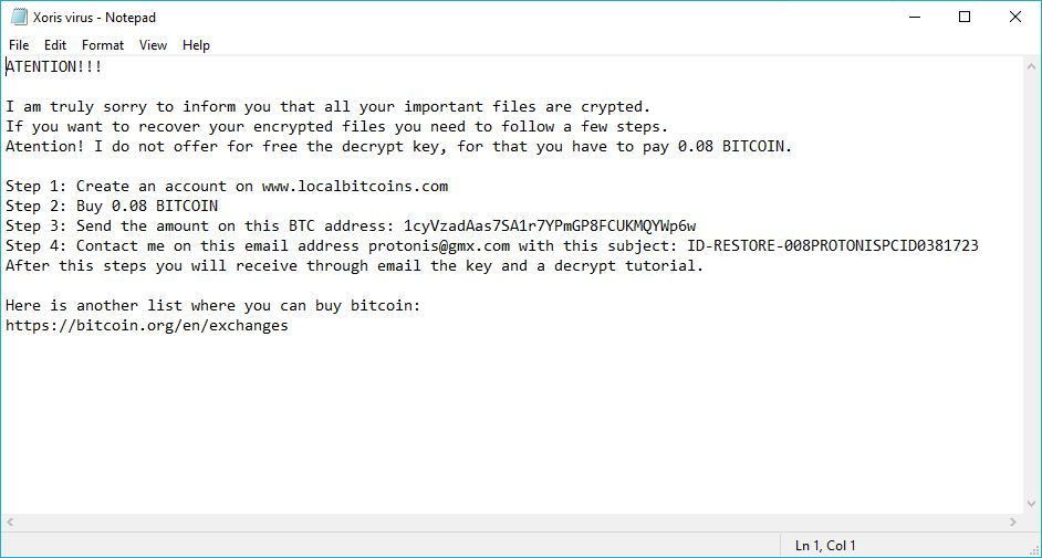 Xorist Virus image ransomware note .PrOtOnIs  extension