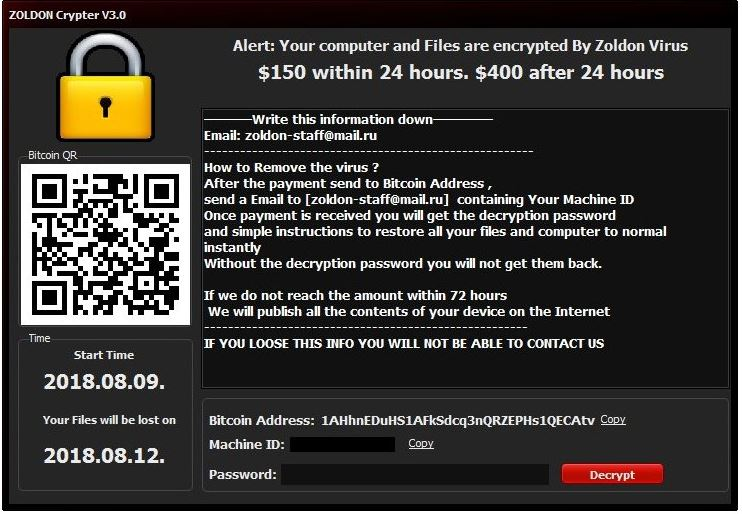 Zoldon Virus Virus image ransomware note  Encrypted extension
