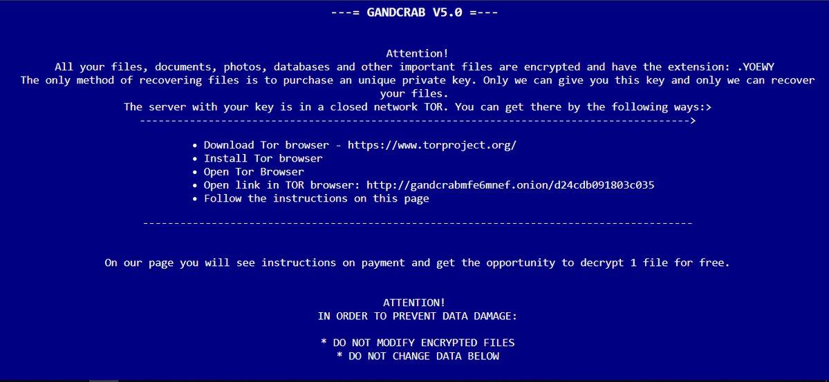 DECRYPT.html gandcrab v5 ransomware ransom note sensorstechforum