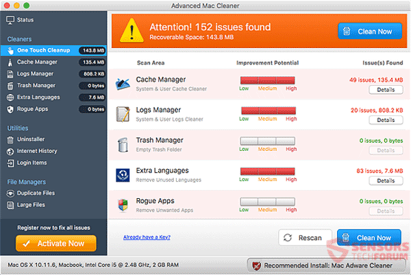 Advanced Mac Cleaner generates fake issues