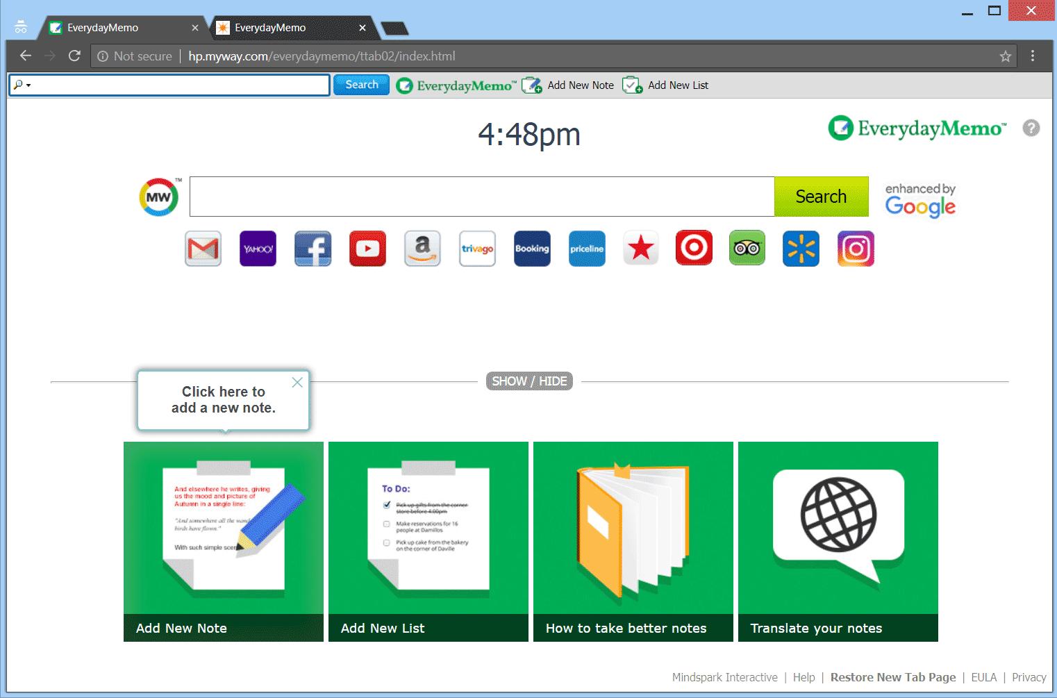 Retire EverydayMemo secuestrador del navegador