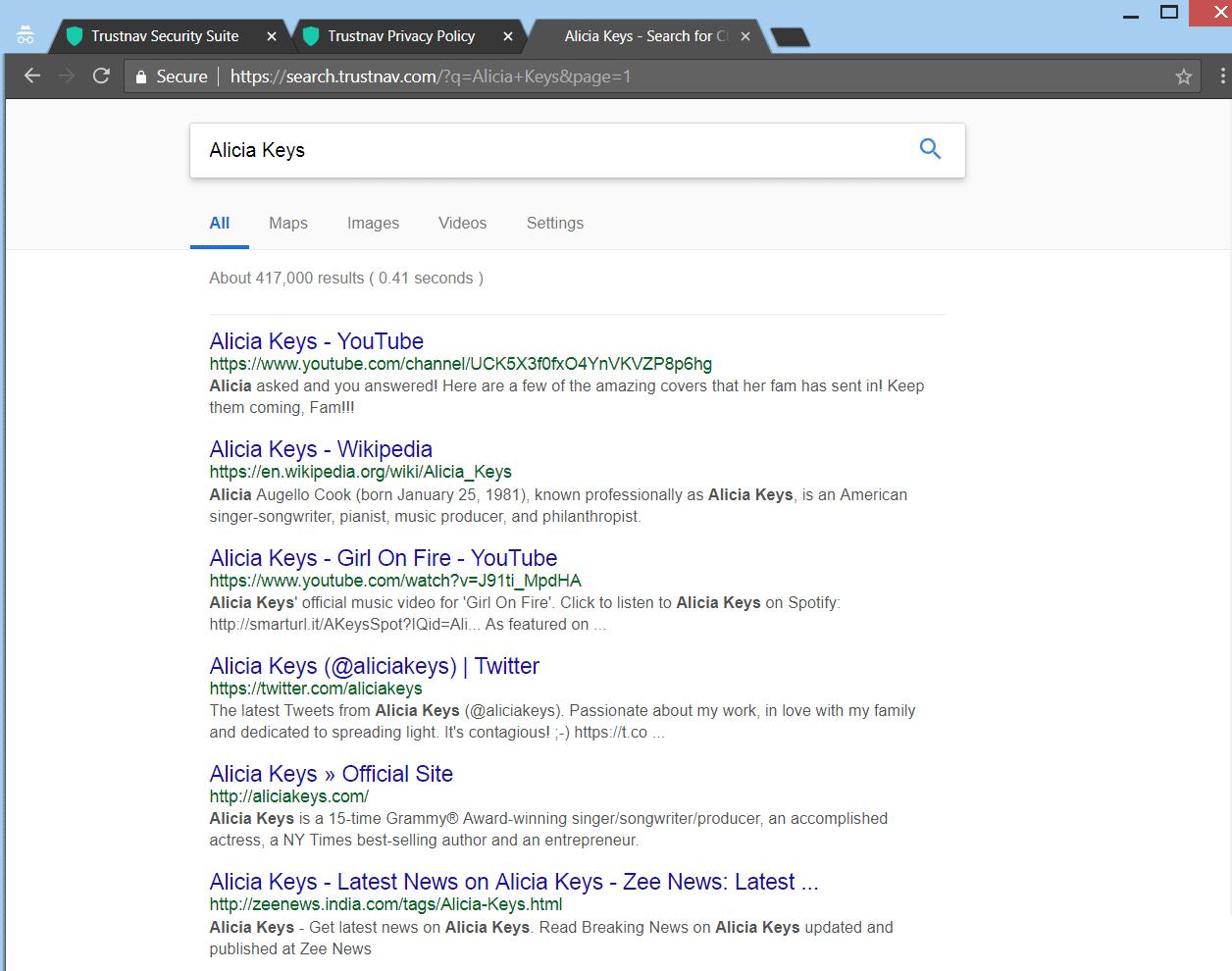 Retire Trustnav.com secuestrador del navegador