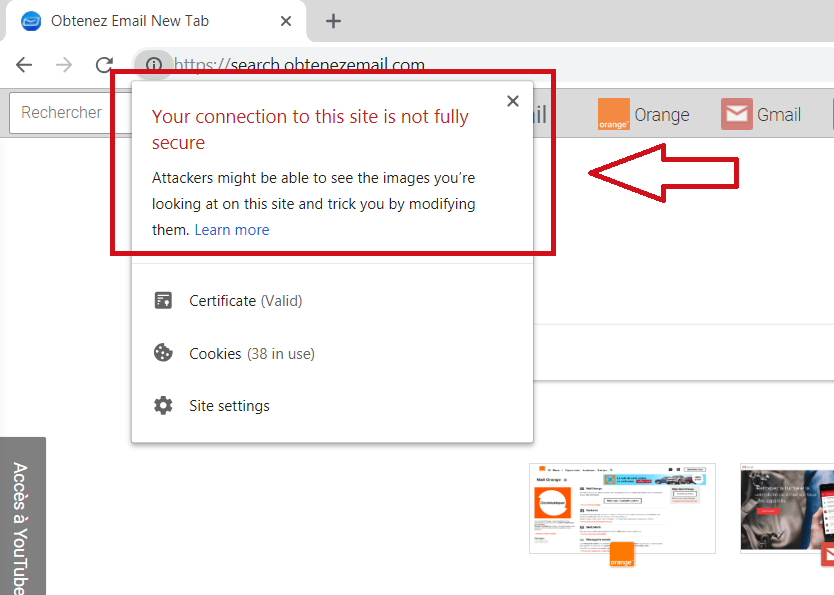 your-connection-to-search-obtenezemail-com-is-not-fully-secure-chrome-notification-sensorstechforum