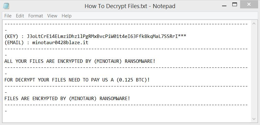 HowToDecryptFiles.txt ransom note dropped by Minotaur ransomware