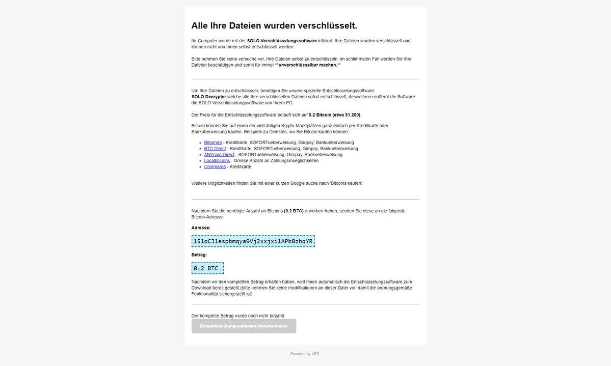 IHRE_DATEIEN_SIND_VERSCHLUESSELT.html SOLO ransomware virus ransom note sensorstechforum