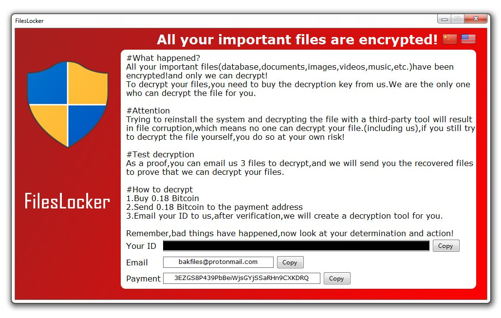 fileslocker ransomware screen ransom message sensorstechforum