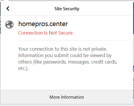 homepros.center site security connection is not secure sensorstechforum