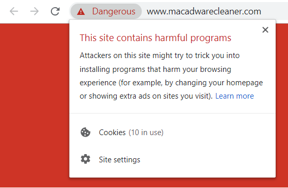 macadwarecleaner.com site with harmful programs google chrome message sensorstechforum mac removal guide