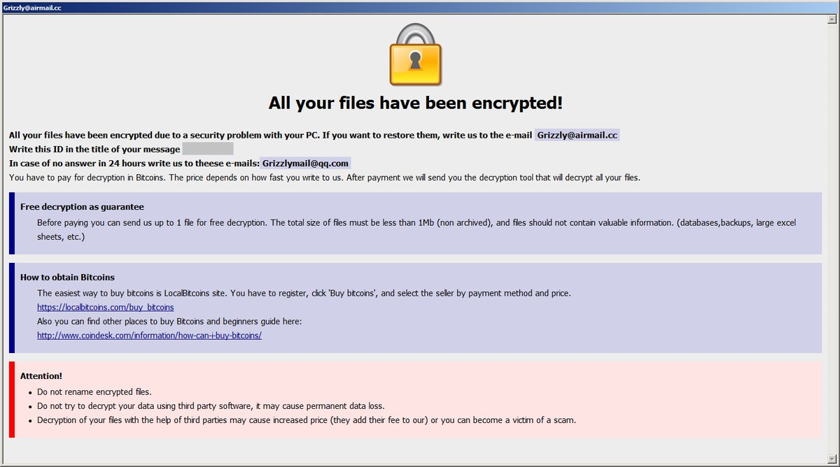 Grizzly@airmail.cc .Bear files virus ransom message sensorstechforum