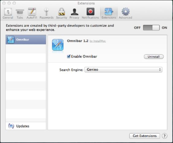Omnibus.safariextz extension installed on Mac