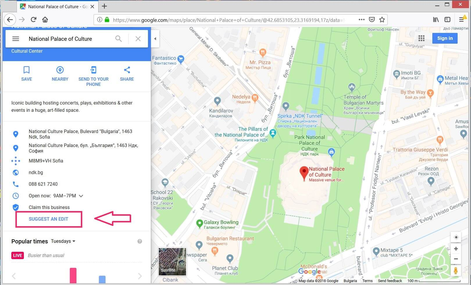google maps provides an info edit option for each place sensorstechforum