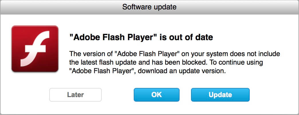 falske flash player opdatering poppe op