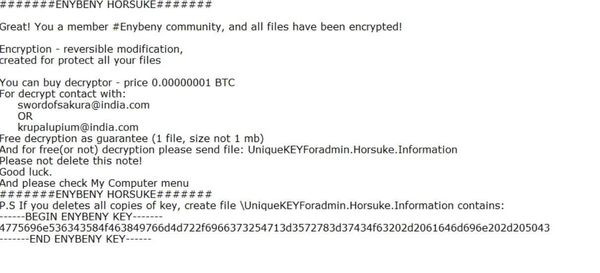 horsuke ransomware virus enybeny variant hack txt ransom note