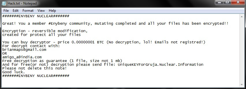 nuclear ransomware enybeny virus ransom note