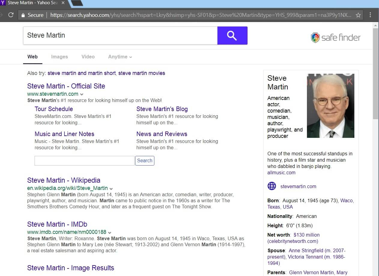safefinder mac redirect to yahoo search results