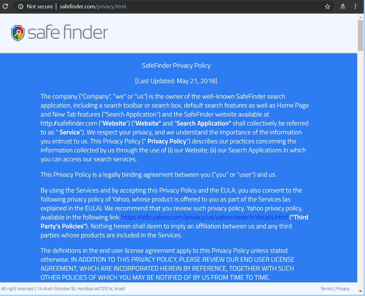 safefinder pagina informativa sulla privacy del browser hijacker