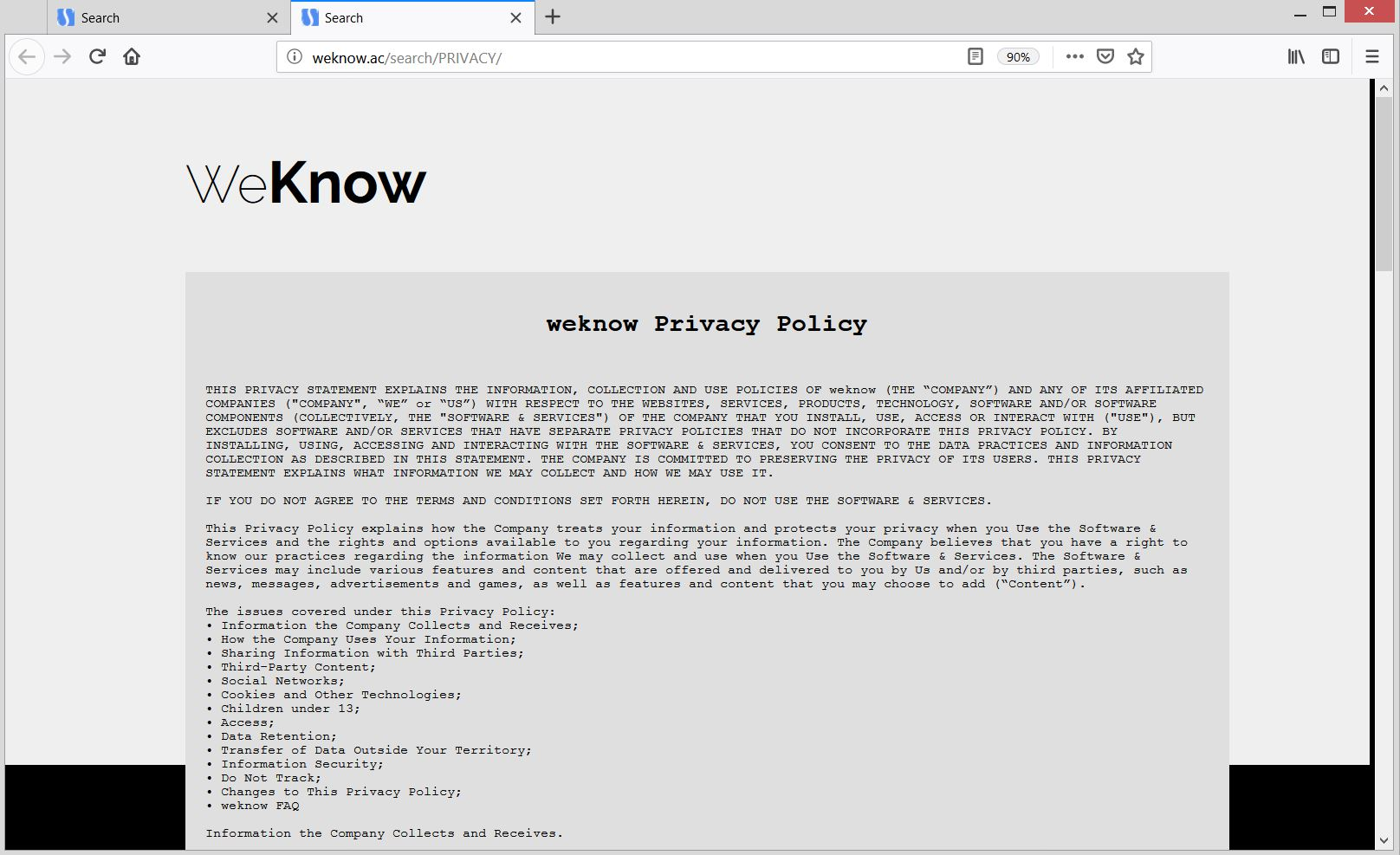 weknow.ac browser hijacker privacy policy sensorstechforum removal guide