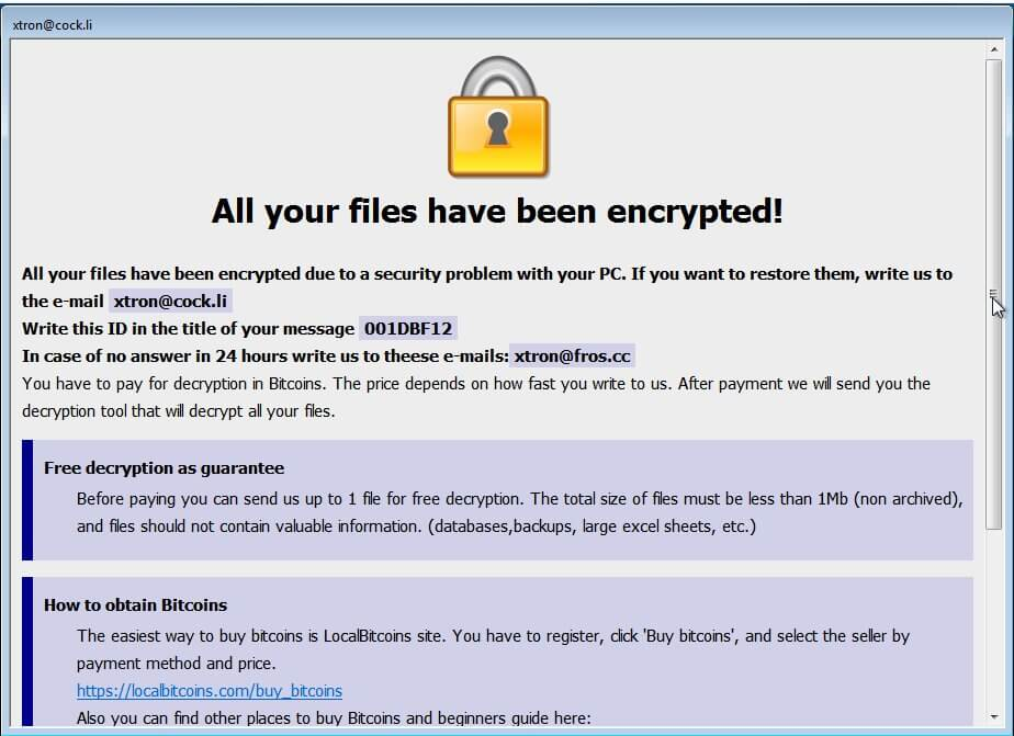 xtron@cock.li tron ransomware virus ransom note
