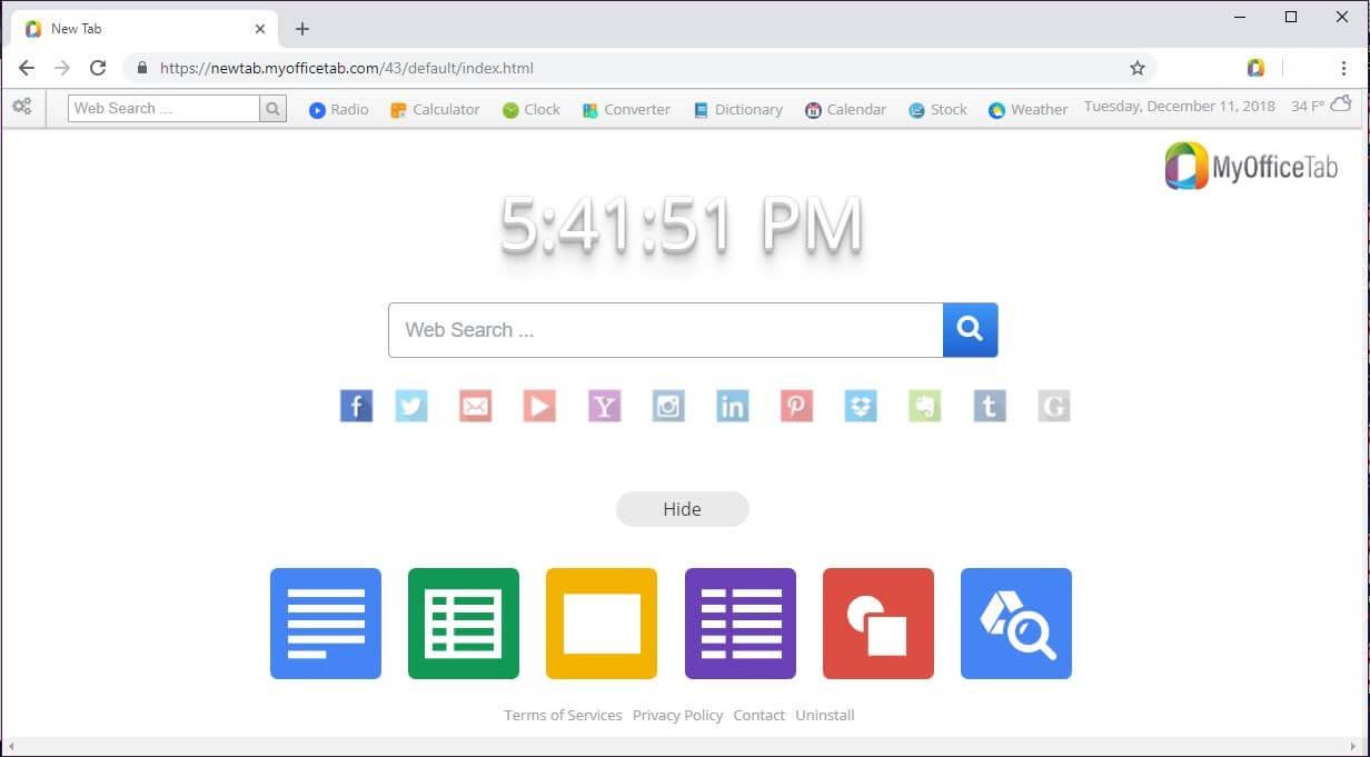 newtab.myofficetab.com secuestrador del navegador añadida por MyOfficeTab sensorstechforum