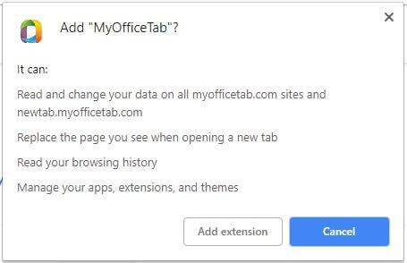 permisos obtenidos por MyOfficeTab extensión del navegador sensorstechforum