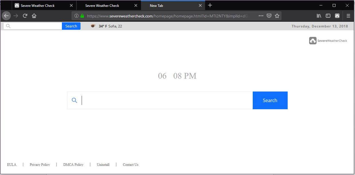 severeweathercheck.com browser hijacker pushed by severeweathercheck sensorstechforum