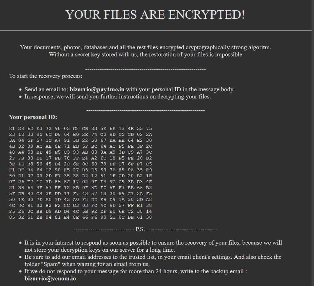 crypted_bizarrio @ pay4me_in filer virus globeimposter ransomware løsesum note