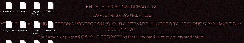 GandCrab 5.0.8 escritorio virus de ransomware