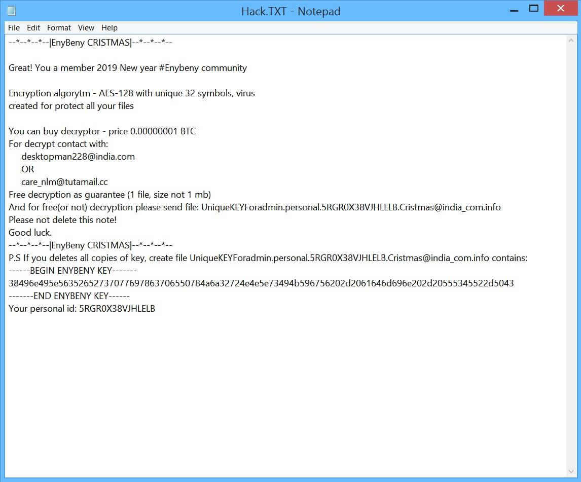 enybeny cristmas@india.com ransomware virus losgeldbrief