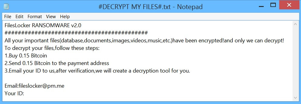 fileslocker ransomware virus .fileslocker @ pm.me løsesum notat engelsk tekst