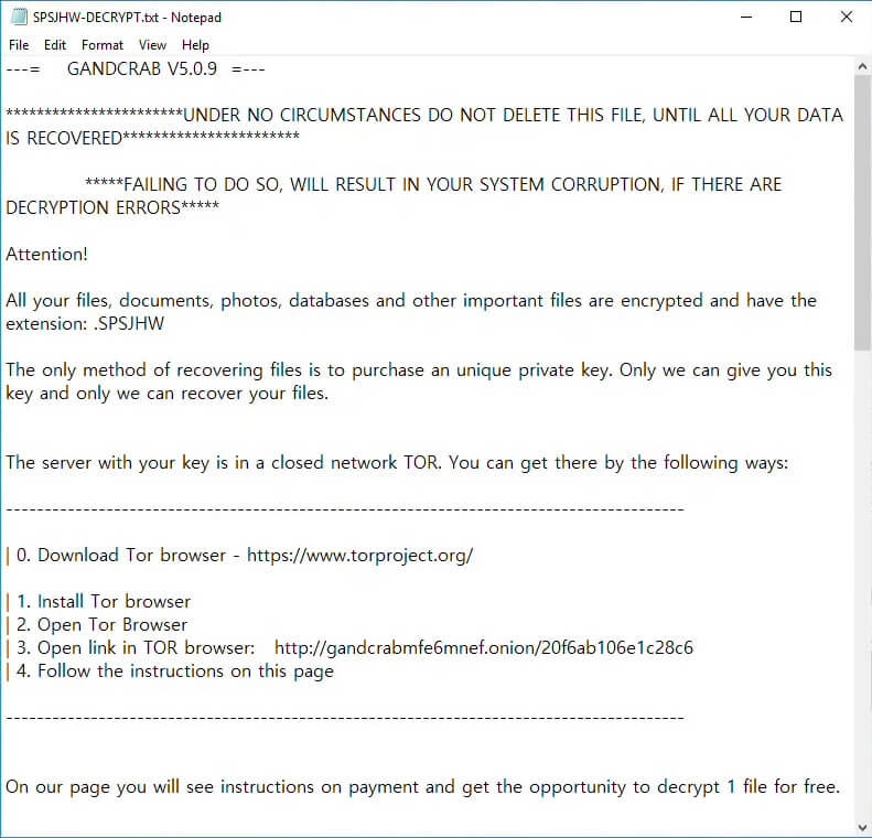 gandcrab 5.0.9 cryptovirus ransomware ransom note text