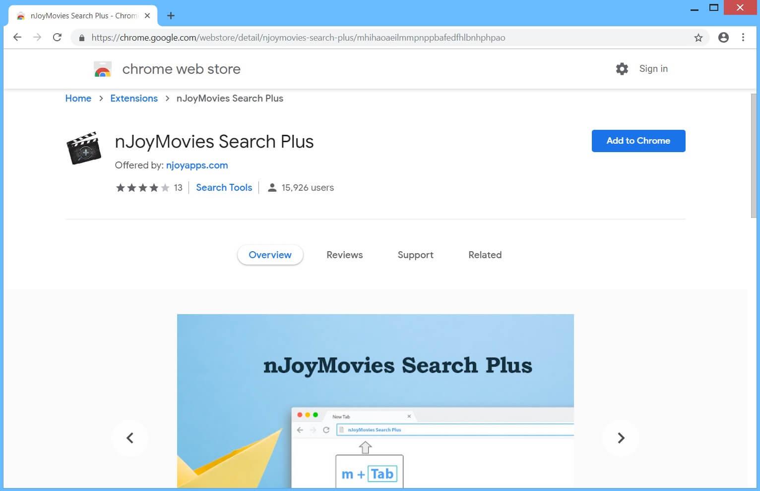 nJoyMovies search plus hijacker chrome web store