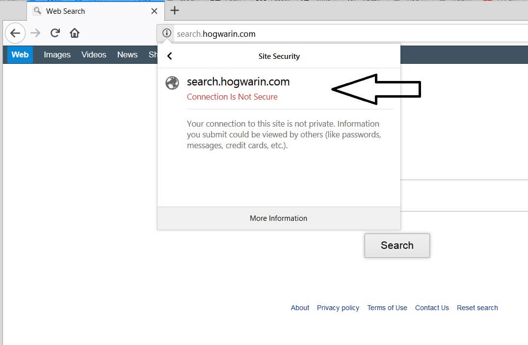 your connection to seaarch hogwarin com is not secure firefox notification