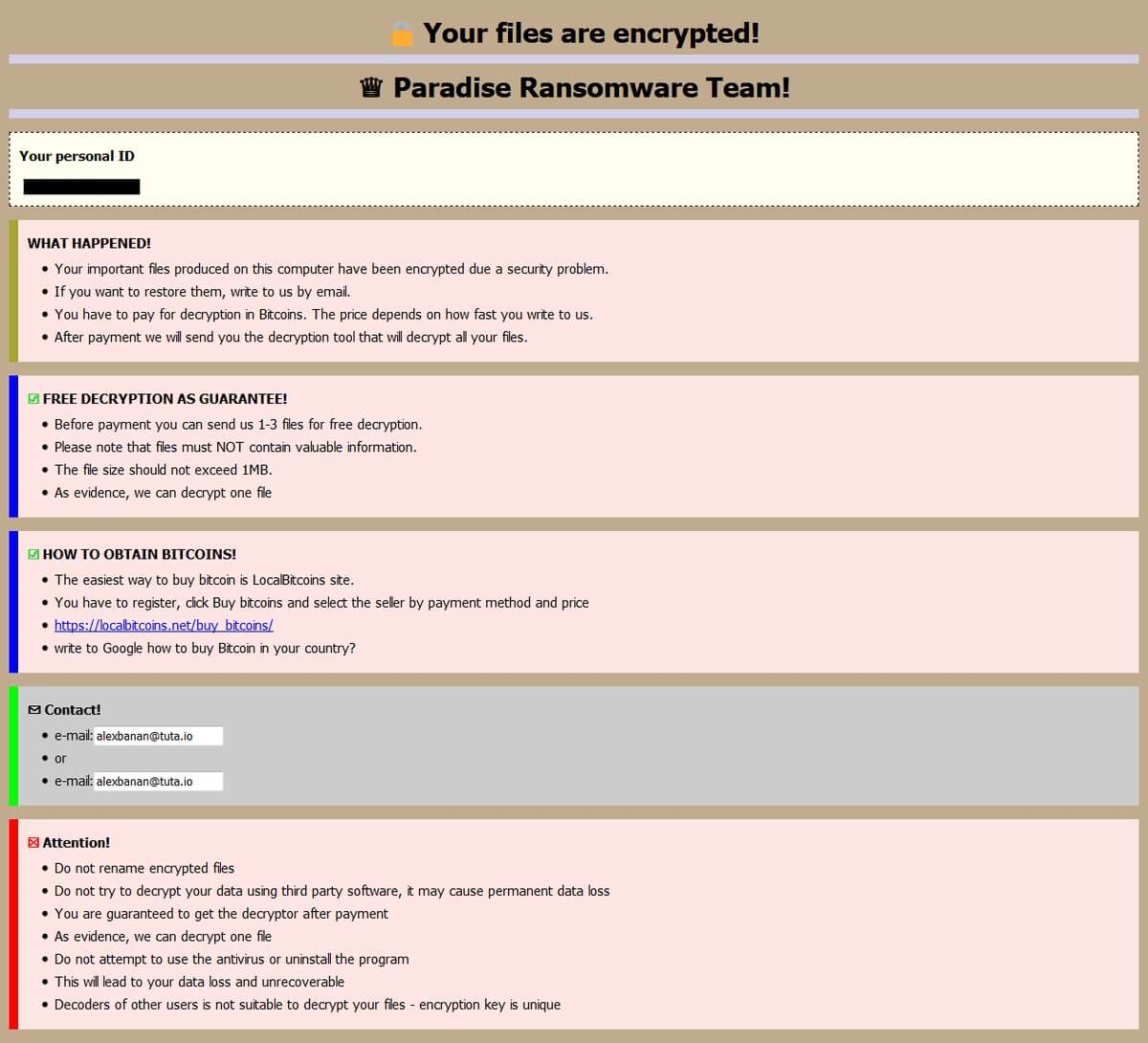 CORP files virus Paradise ransomware ransom note sensorstechforum removal guide