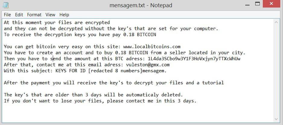 Nota di riscatto mesagem.txt .vulston guida la rimozione dei virus ransomware sensorstechforum