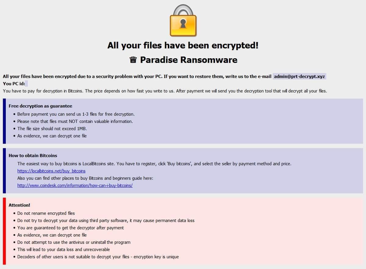 paradise ransomware ransom note sensorstechforum