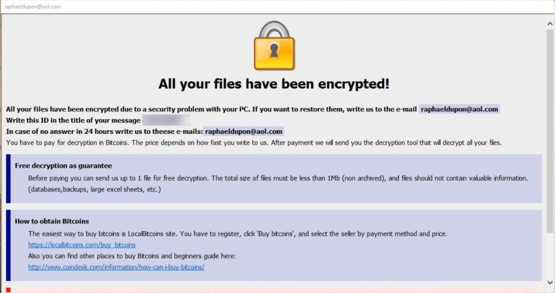 ransom message raphaeldupon aol com btc files virus sensorstechforum removal guide