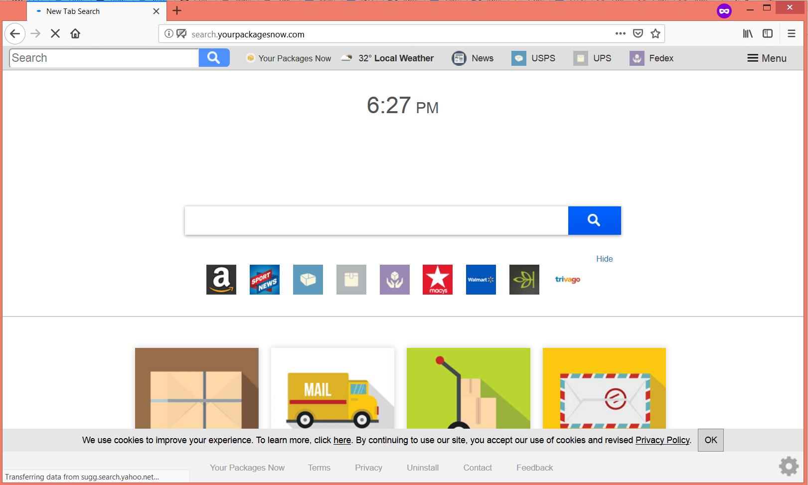 Suche yourpackagesnow com Browser-Hijacker sensorstechforum entfernen