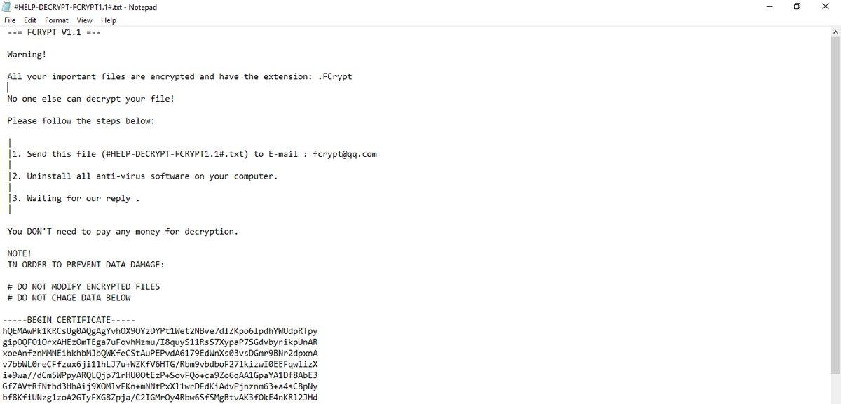 fcrypt ransomware ransom note sensorstechforum guide