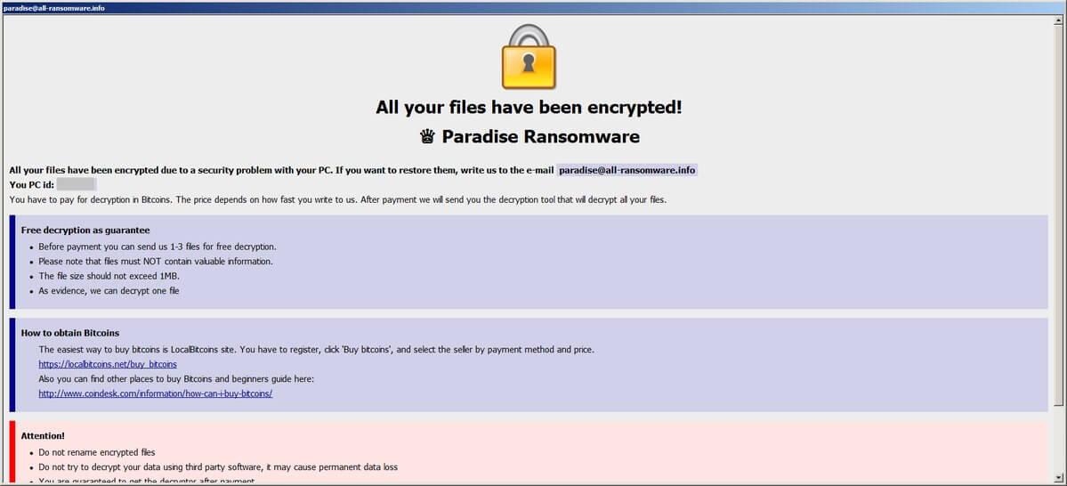 stub files virus paradise ransomware ransom page sensorstechforum guide